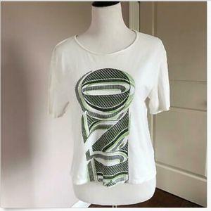 EUC ACNE Cotton Graphic Cropped T-shirt SZ XS